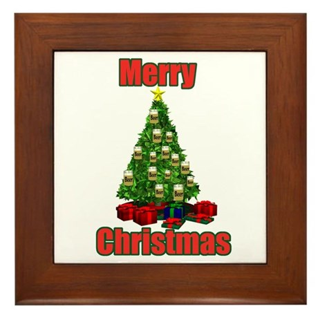 Merry christmas beer tree Framed Tile