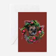 Border Terrier Warm Wishes Greeting Cards (Pk of 2