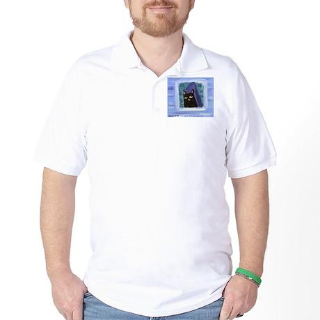 Black Cat Window Golf Shirt