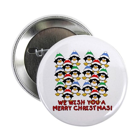 """Baby Penguins Merry Christmas 2.25"""" Button"""