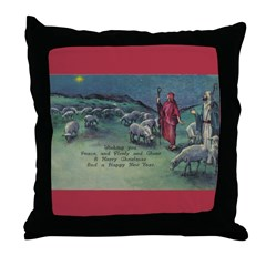 1910 Shepherds and Star Throw Pillow