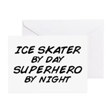 Ice Skater Superhero by Night Greeting Cards (Pk o