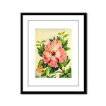 Pink Hibiscus Beautiful Painting Print Framed Pane