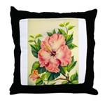 Pink Hibiscus Beautiful Painting Print Throw Pillo