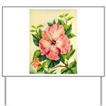 Pink Hibiscus Beautiful Painting Print Yard Sign