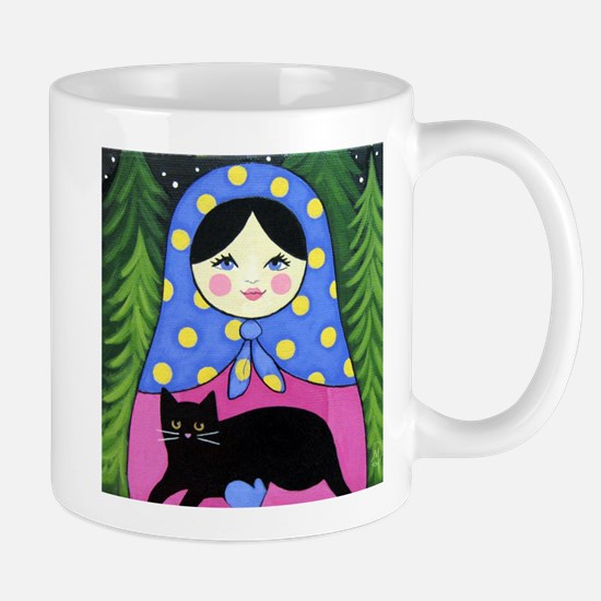 Matryoshka Babushka Girl Doll Cat Folk ART Mug