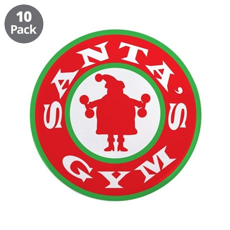 "Santa's Gym 3.5"" Button (10 pack)"