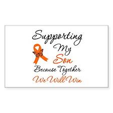 Orange Ribbon Butterfly Rectangle Sticker 10 pk)