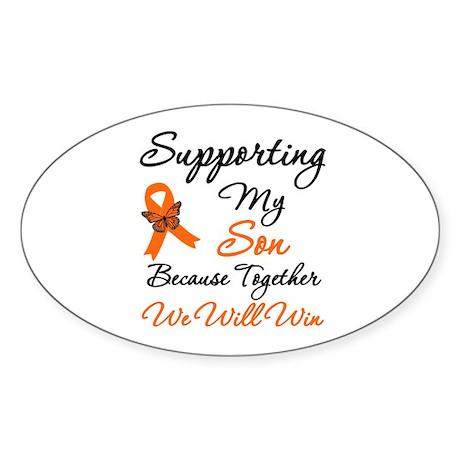Orange Ribbon Butterfly Oval Sticker (10 pk)