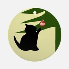 Cat Swatting Christmas Bulb Ornament