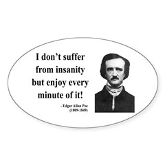 Edgar Allan Poe 17 Oval Decal
