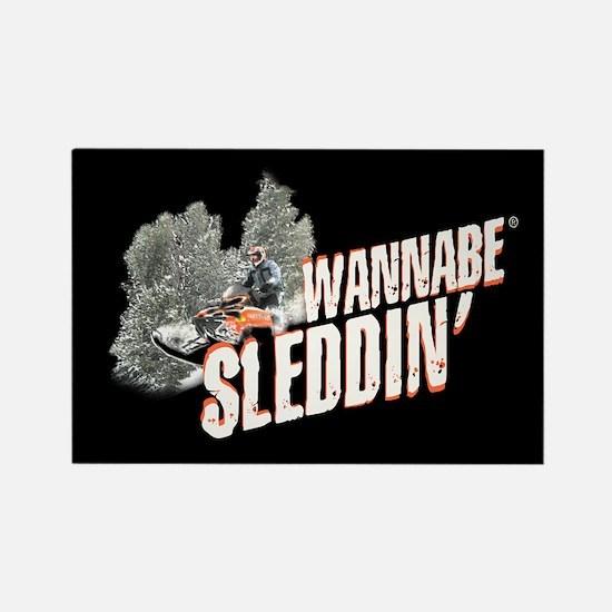 Wannabe Sleddin' II Rectangle Magnet