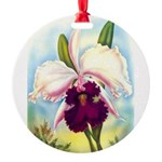 Gorgeous Orchid Vintage Painting Print Round Ornam