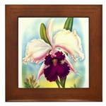 Gorgeous Orchid Vintage Painting Print Framed Tile
