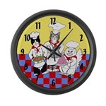 Large Chef Cats wall clock