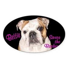Bettie Boob Saves the Boobies Oval Decal