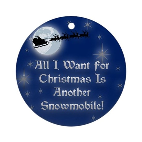 Another Snowmobile Christmas Ornament (Round)