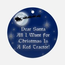 Santa Red Tractor Christmas Ornament (Round)