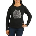 TG, Long-Haired Gray Cat Women's Long Sleeve Dark