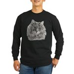 TG, Long-Haired Gray Cat Long Sleeve Dark T-Shirt