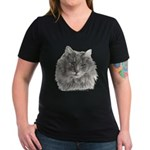 TG, Long-Haired Gray Cat Women's V-Neck Dark T-Shi
