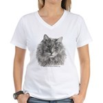 TG, Long-Haired Gray Cat Women's V-Neck T-Shirt