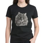 TG, Long-Haired Gray Cat Women's Dark T-Shirt