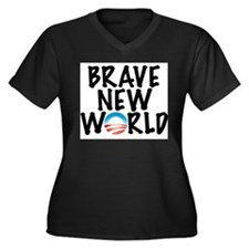 Brave New World Women's Plus Size V-Neck Dark T-Sh