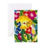 Hummingbird in Tropical Flower Garden Print Greeti