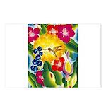 Hummingbird in Tropical Flower Garden Print Postca