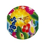 Hummingbird in Tropical Flower Garden Print Button