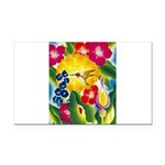 Hummingbird in Tropical Flower Garden Print Rectan