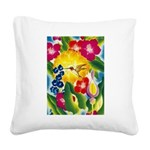 Hummingbird in Tropical Flower Garden Print Square