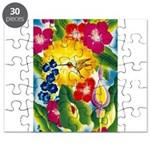 Hummingbird in Tropical Flower Garden Print Puzzle