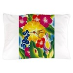 Hummingbird in Tropical Flower Garden Print Pillow