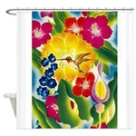 Hummingbird in Tropical Flower Garden Print Shower