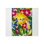 Hummingbird in Tropical Flower Garden Print Throw