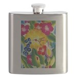 Hummingbird in Tropical Flower Garden Print Flask