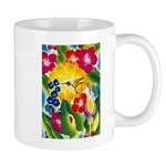 Hummingbird in Tropical Flower Garden Print Mugs