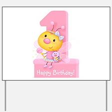 Cute Bug Girl's 1st Birthday Yard Sign