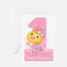 Cute Bug Girl's 1st Birthday Greeting Card