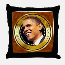 Obama Gold Seal Throw Pillow