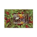1909 Winter Cottage Rectangle Magnet (100 pack)