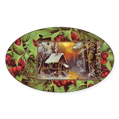 1909 Winter Cottage Oval Decal