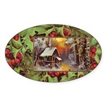 1909 Winter Cottage Oval Sticker