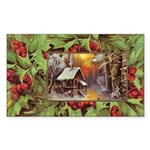 1909 Winter Cottage Rectangle Sticker 50 pk)