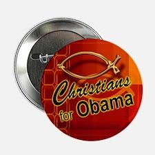 Christians for Obama Button (fish, orange)