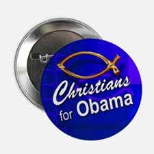 Christians for Obama Button (fish, blue)