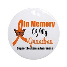 Leukemia In Memory Grandma Ornament (Round)