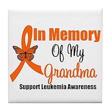 Leukemia In Memory Grandma Tile Coaster